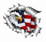 A4 Size Ripped Torn Metal Design With American Bald Eagle & US Flag Motif External Vinyl Car Sticker 300x210mm